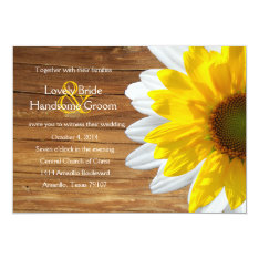 Country Wood Sunflower Daisy Summer Wedding Invite at Zazzle