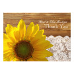Country Wood Sunflower Lace Personalized Thank You Custom Invite
