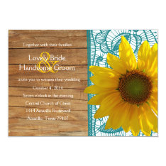 """Country Wood Sunflower Teal Lace Wedding Invite 5"""" X 7"""" Invitation Card at Zazzle"""