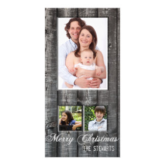 Country Wood Three Photo Christmas Card Photo Card