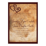 Country Wood Tree Rings Hearts Wedding Invitations