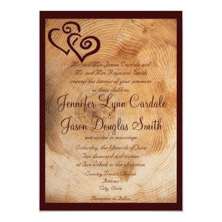 "Country Wood Tree Rings Hearts Wedding Invitations 5"" X 7"" Invitation Card"