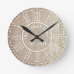 Country Wood White Roman Numerals Family Name Round Clock