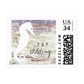 Country Wood Wooden Seahorse Postage Stamp