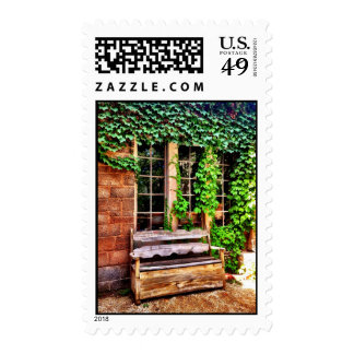Country Wooden Bench Postage Stamps