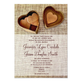Country Wooden Hearts Burlap Wedding Invitations