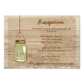 Country Wooden Rustic Mason Jar Reception Card