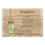 Country Wooden Rustic Mason Jar Reception Card Personalized Announcements