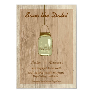 Country Wooden Rustic Mason Jar Save the Date Card