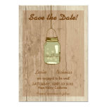 "Country Wooden Rustic Mason Jar Save the Date 5"" X 7"" Invitation Card"