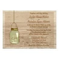 Country Wooden Rustic Mason Jar Wedding Invitation