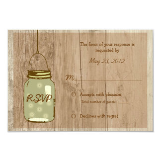 Country Wooden Rustic Mason Jar Wedding RSVP Card