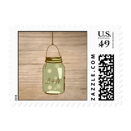 Country Wooden Rustic Mason Jar Wedding Stamps