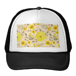 Country Yellow Flowers on a Trellis Trucker Hat