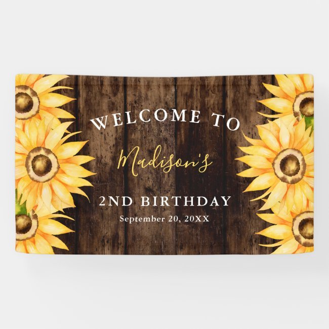 Country Yellow Sunflower Birthday Party Welcome Banner