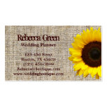 country  yellow Sunflower burlap business cards