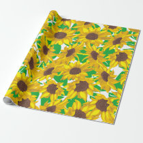 Country Yellow Sunflowers Pattern Wrapping Paper