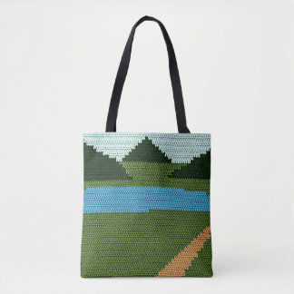 Countryside Blue Lake and Hills Green Crochet Tote Bag