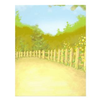 countryside fence landscape scene flyer