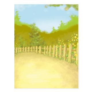 countryside fence landscape scene postcard