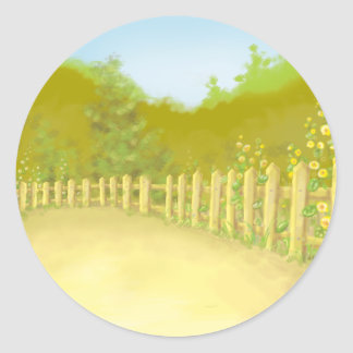 countryside fence landscape scene round stickers