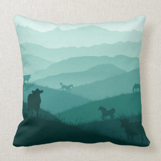 Countryside morning fog scenery with animals throw pillow
