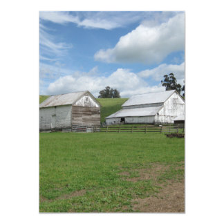Countryside old white barn 4.5 x 6.25 Flat Card