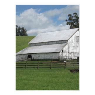 Countryside old white barn 6.5 x 8.75 invitation