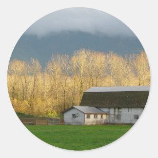 Countryside Scene Classic Round Sticker