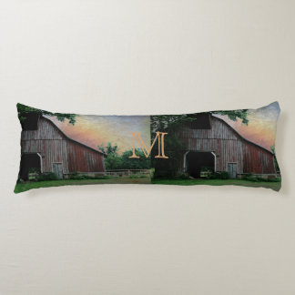 countryside sunset farm landscape old red barn body pillow