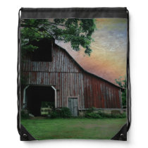 countryside sunset farm landscape old red barn drawstring backpack