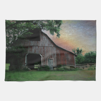countryside sunset farm landscape old red barn hand towel