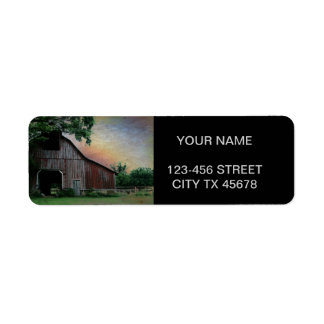 countryside sunset farm landscape old red barn label