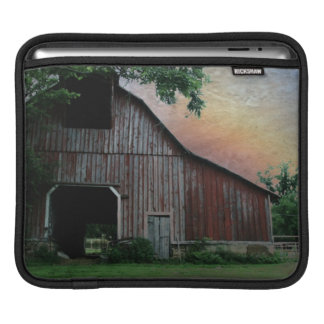 countryside sunset farm landscape old red barn sleeve for iPads
