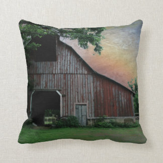 countryside sunset farm landscape old red barn throw pillow