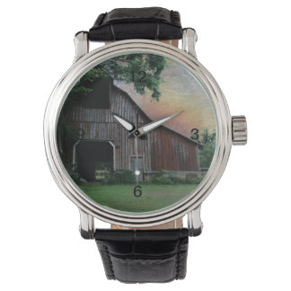 countryside sunset farm landscape old red barn wrist watch