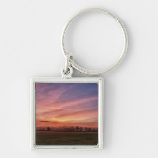 Countryside Sunset Skies Square keychain