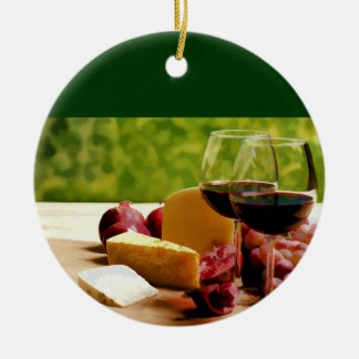 Countryside Wine, Cheese & Fruit Ceramic Ornament