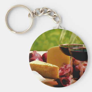 Countryside Wine, Cheese & Fruit Keychains