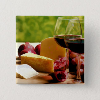 Countryside Wine, Cheese & Fruit Pinback Button