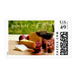 Countryside Wine, Cheese & Fruit You're Invited Postage Stamp