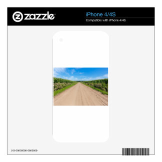 Countryside with sandy road and corn fields skin for iPhone 4S