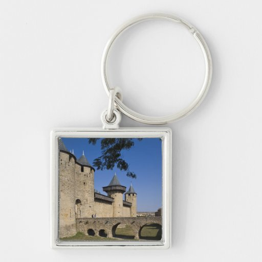 Counts Castle, Carcassonne, Aude, Languedoc, Silver-Colored Square Keychain