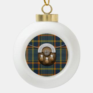 County Antrim Irish Tartan And Sporran Ceramic Ball Christmas Ornament
