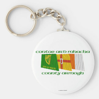 County Armagh Flags Basic Round Button Keychain