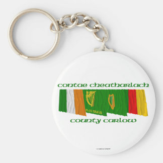 County Carlow Flags Basic Round Button Keychain