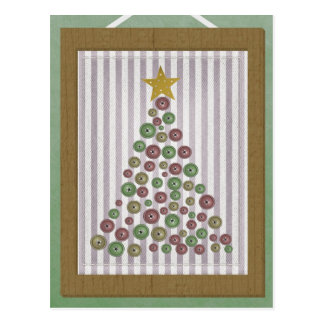 County Christmas Button Tree Frame Greeting Post Cards