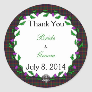 County Cork Celtic Wedding Thank You Classic Round Sticker