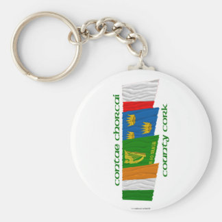 County Cork Flags Basic Round Button Keychain