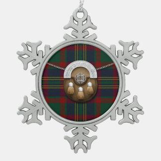 County Cork Irish Tartan And Sporran Snowflake Pewter Christmas Ornament